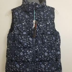 Navy blue patterned GAP primaloft puffer vest, NWT
